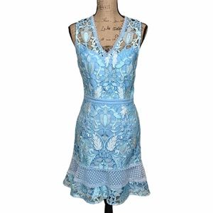 Adelyn Rae Mixed Lace Dress Light Blue Small